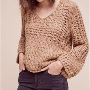 Anthro Moon River Chunky Beige Sweater